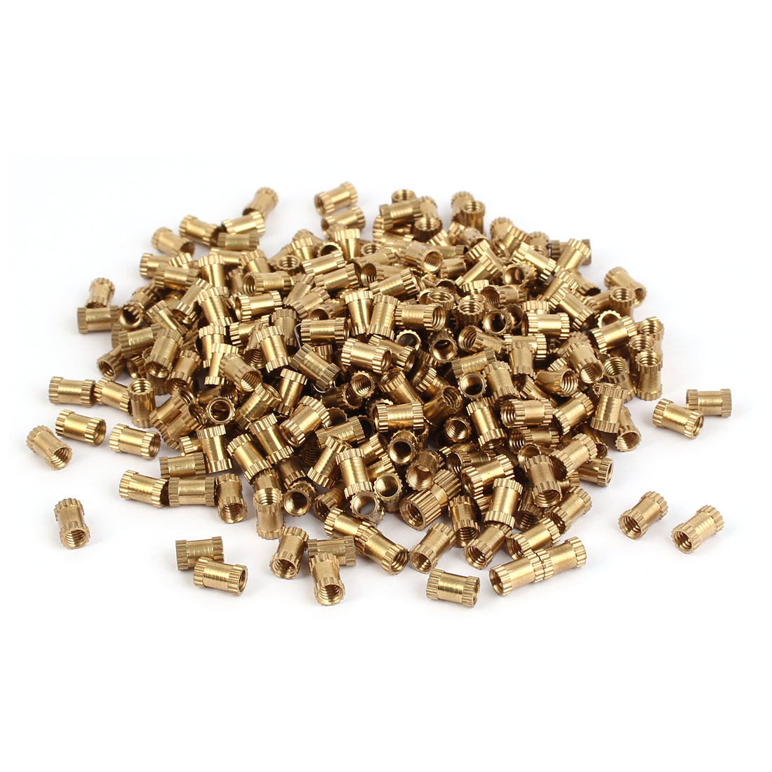 M4 x 8mm x 5.3mm Brass Injection Molding Knurled Insert Embedded Nuts 500PCS