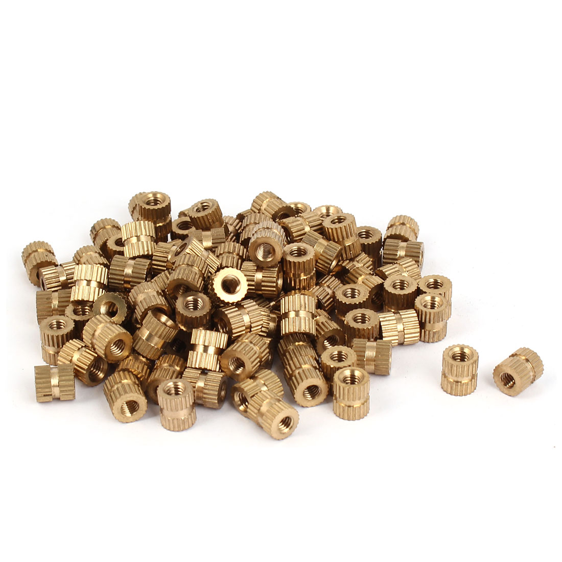 M4 x 8mm Female Thread Brass Knurled Threaded Round Insert Embedded Nuts 100PCS