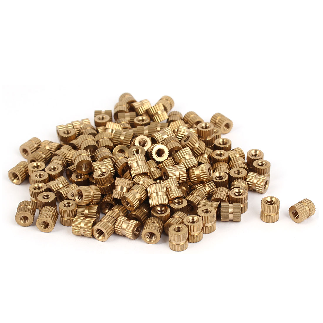 M4 x 8mm Brass Cylinder Injection Molding Knurled Insert Embedded Nuts 200PCS