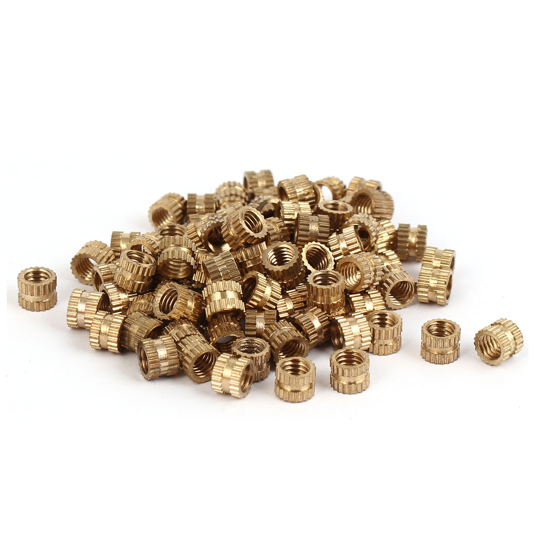 M4 x 4mm Brass Cylinder Injection Molding Knurled Threaded Embedment Nuts 100PCS