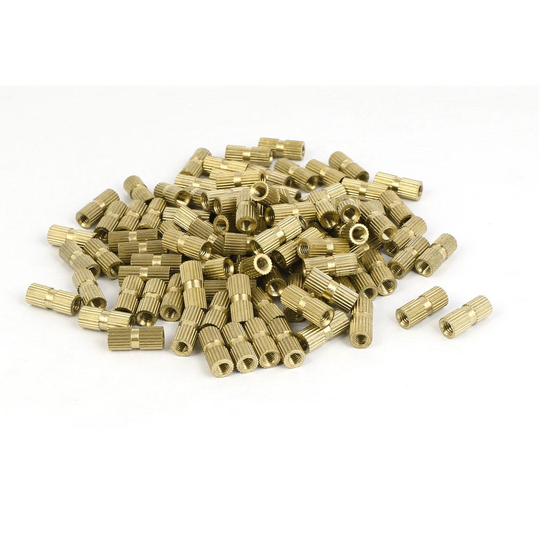 M4 x 15mm Female Thread Brass Knurled Threaded Insert Embedment Nuts 100PCS