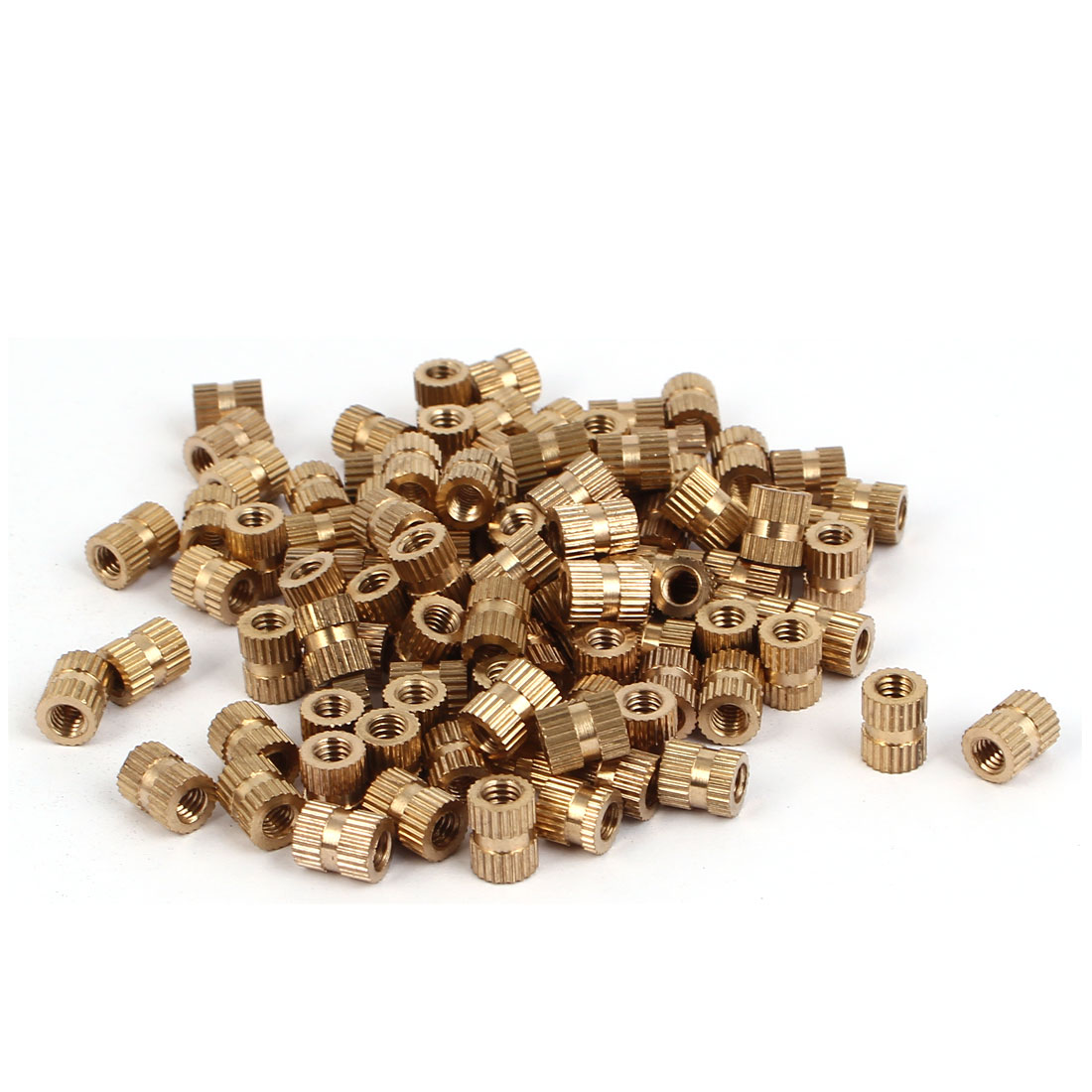M4 x 8mm 0.7mm Pitch Brass Cylindrical Knurled Threaded Insert Nuts 100PCS