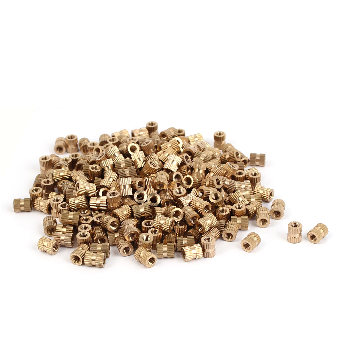 M4 x 8mm Brass Cylinder Injection Molding Knurled Threaded Embedment Nuts 500PCS