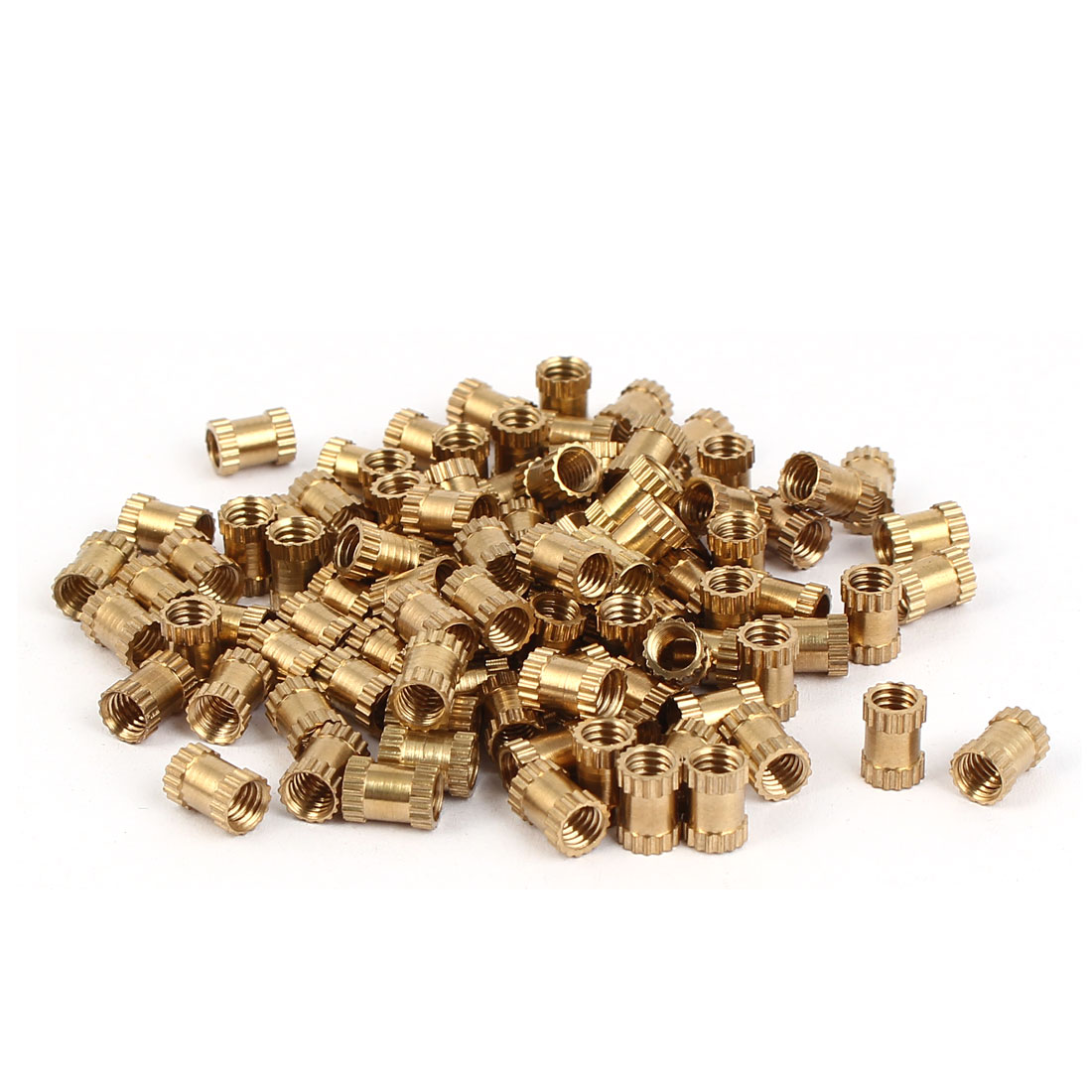 M4 x 7mm Brass Cylinder Injection Molding Knurled Insert Embedded Nuts 100PCS