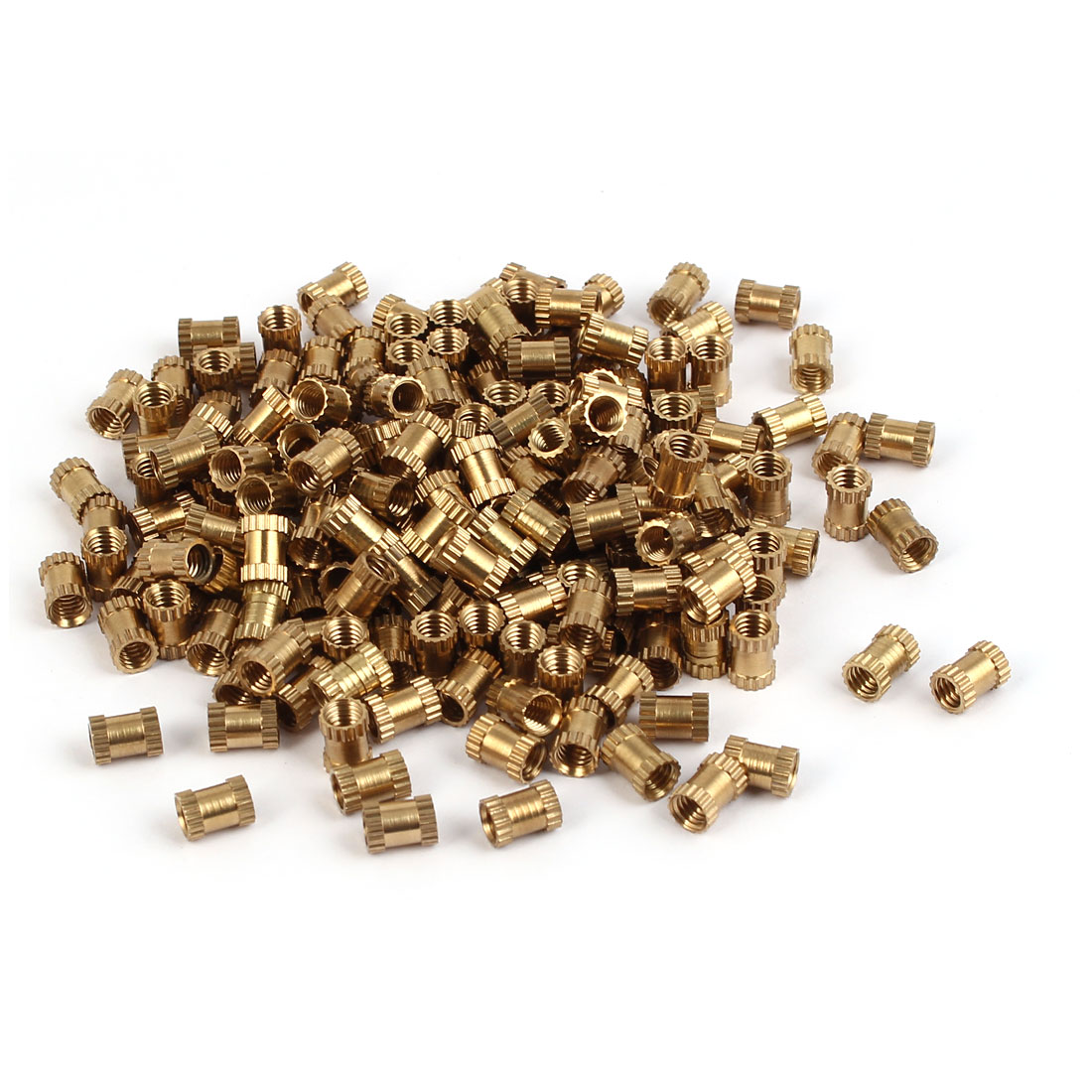 M4 x 7mm Brass Cylinder Injection Molding Knurled Insert Embedded Nuts 200PCS