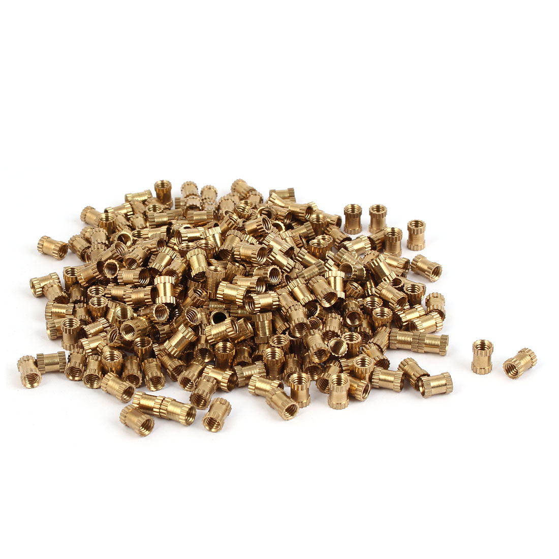 M4 x 7mm Brass Cylinder Knurled Threaded Round Insert Embedded Nuts 500PCS