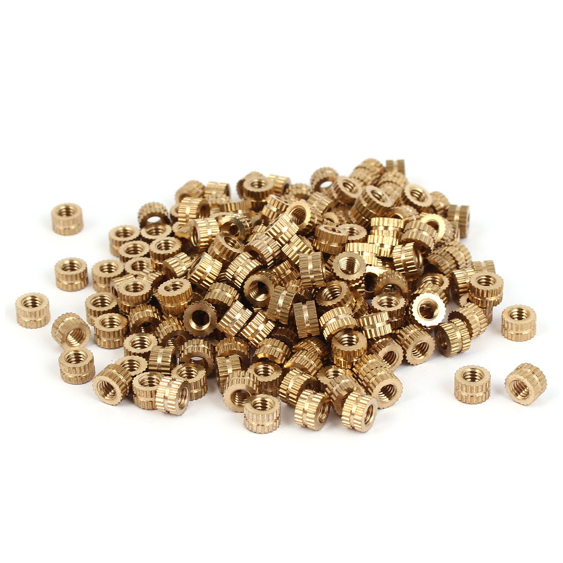 M4 x 4mm Brass Cylinder Injection Molding Knurled Insert Embedded Nuts 200PCS
