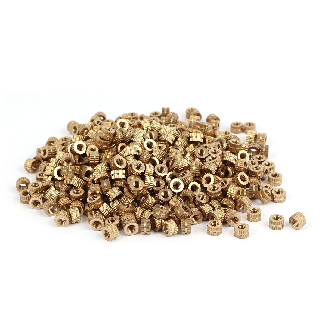 M4 x 4mm Brass Cylinder Injection Molding Knurled Insert Embedded Nuts 500PCS