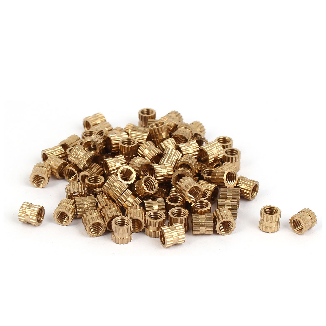M4 x 5mm Brass Injection Molding Knurled Threaded Insert Embedment Nuts 100PCS