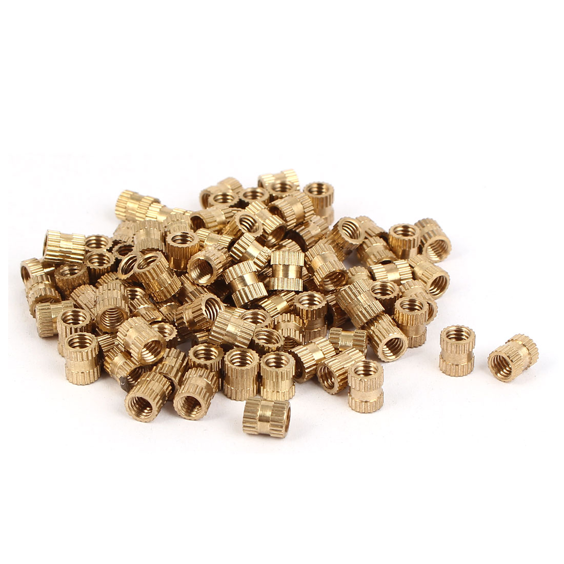 M4 x 6mm 0.7mm Pitch Brass Cylinder Knurled Threaded Insert Embedded Nuts 100PCS