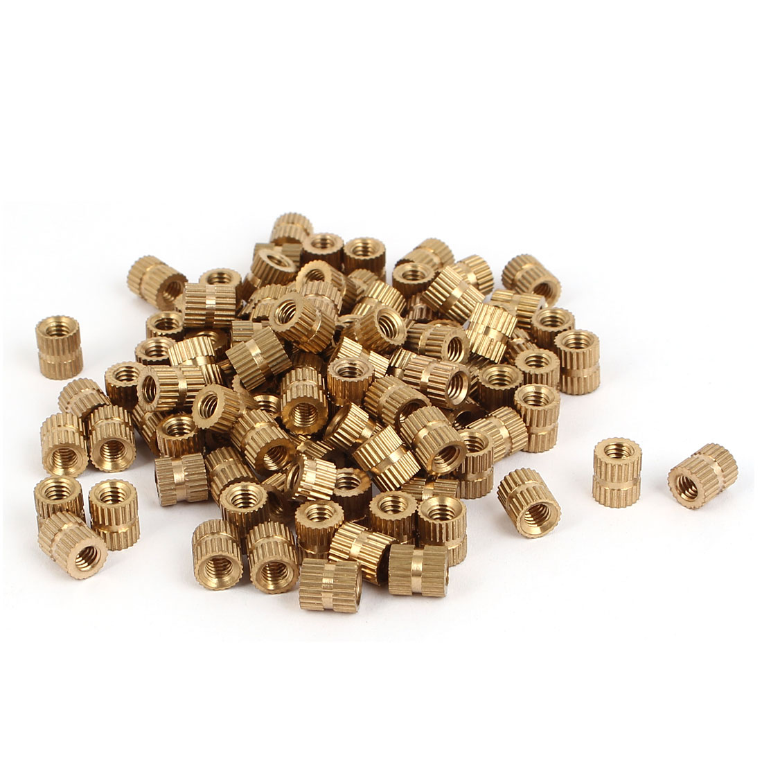M4 x 7mm Brass Cylinder Injection Molding Knurled Threaded Embedment Nuts 100PCS