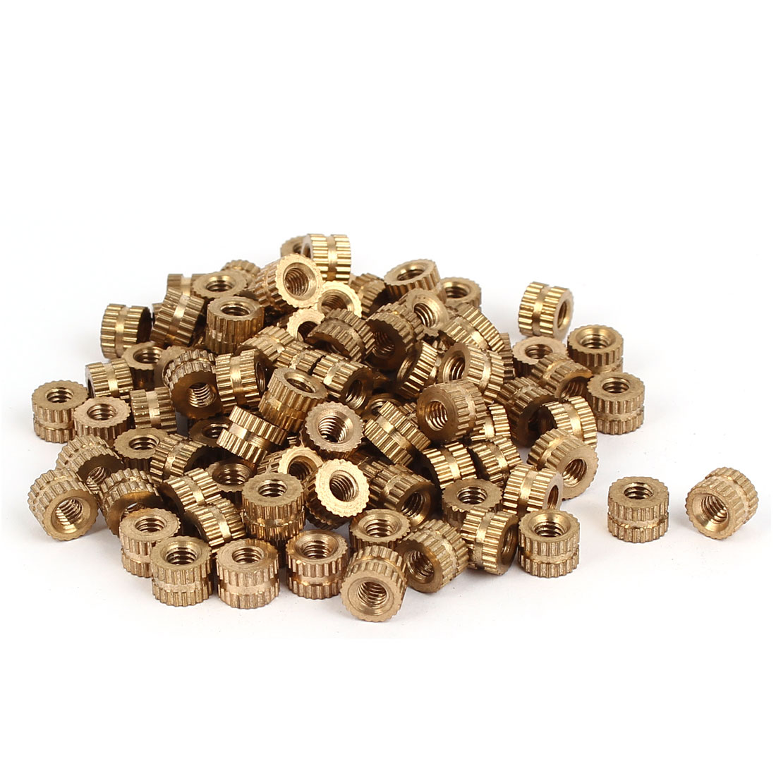 M4 x 5mm Brass Cylinder Injection Molding Knurled Threaded Insert Nuts 100PCS