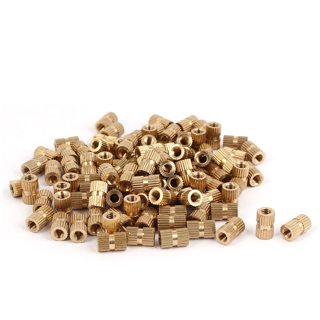 M4 x 10mm Brass Cylinder Injection Molding Knurled Threaded Insert Nuts 100PCS