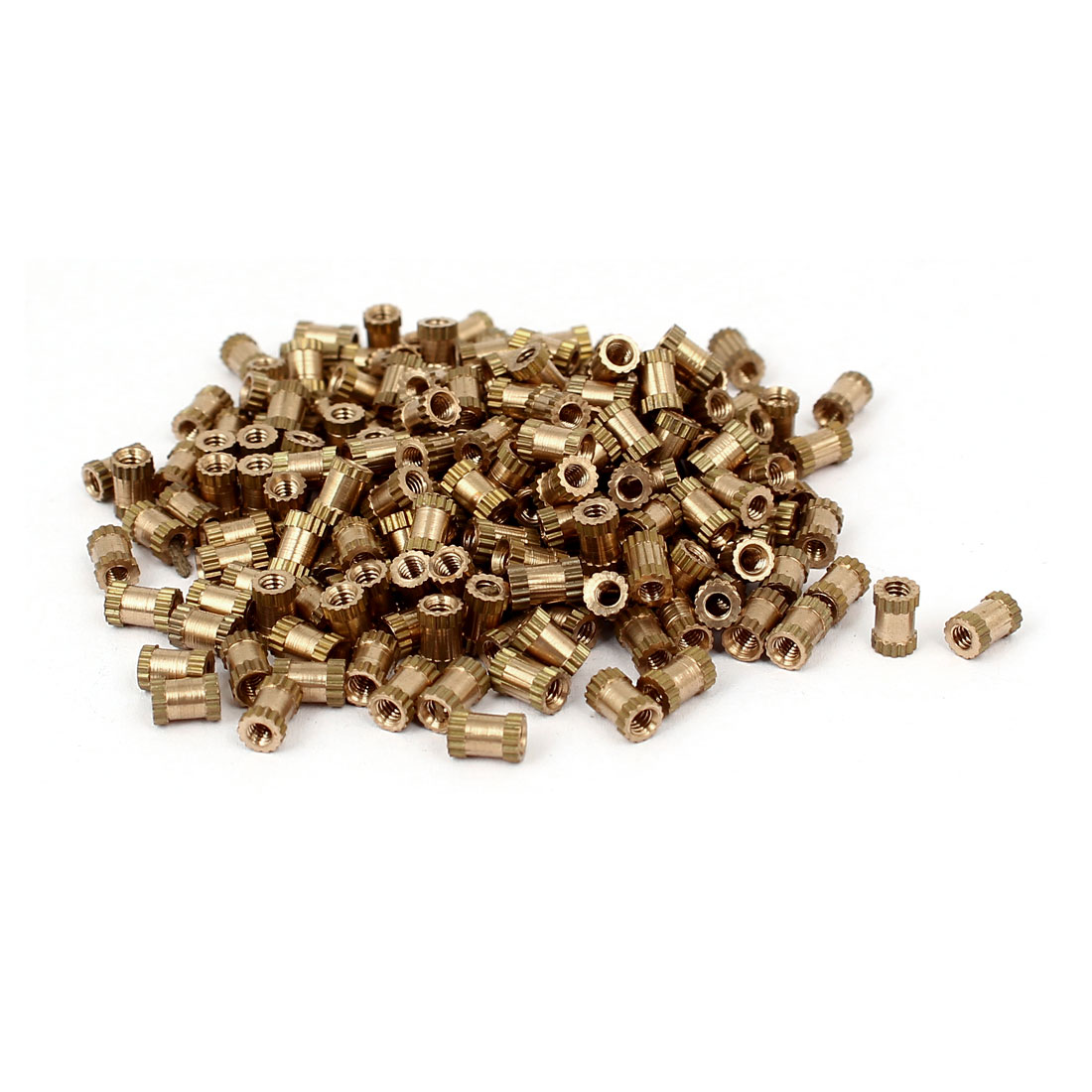 M2 x 5mm 3.2mm OD Brass Injection Molding Threaded Knurled Thumb Nut 200PCS