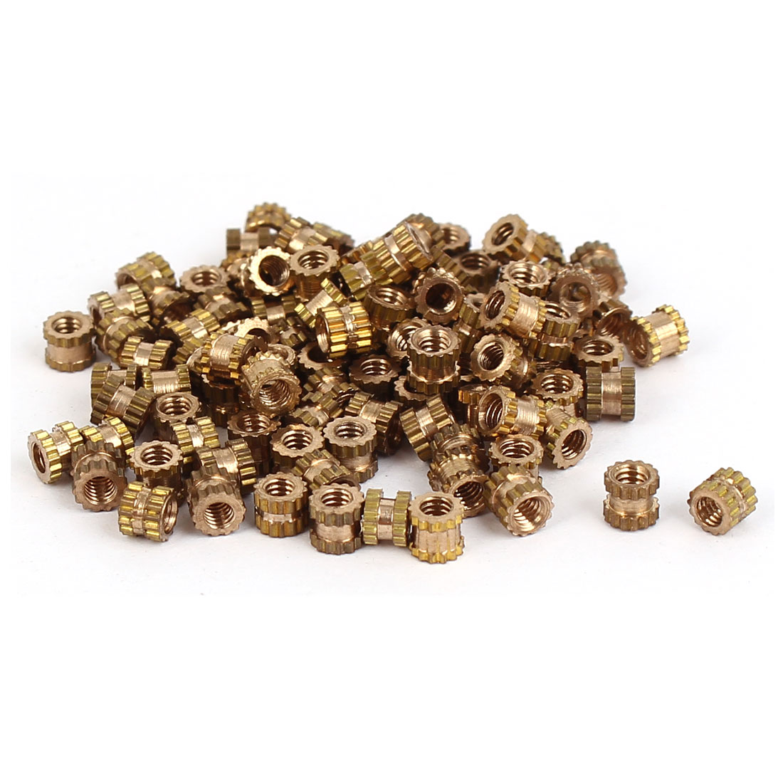 M2 x 3mm Brass Cylinder Knurled Threaded Round Insert Embedded Nuts 100PCS