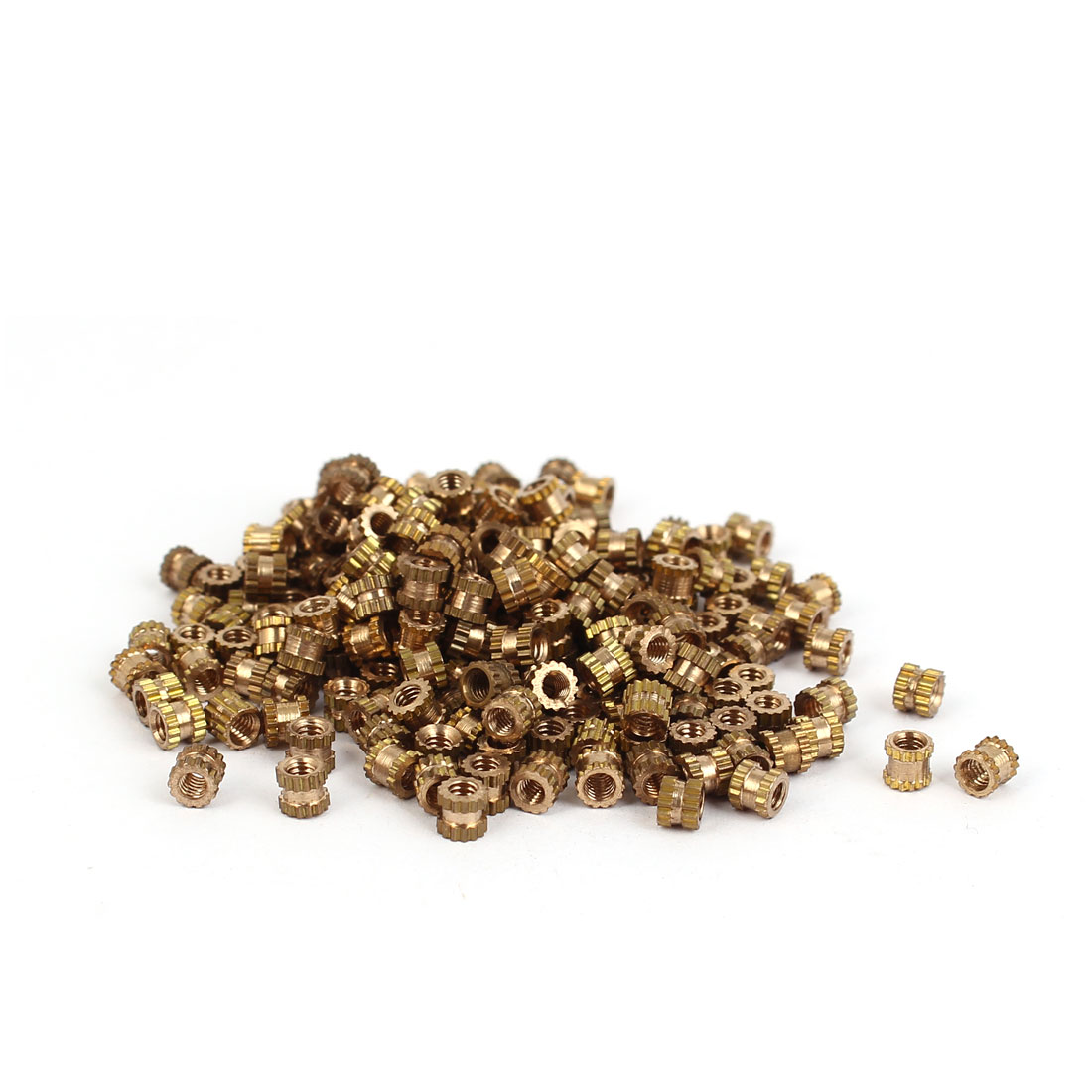 M2 x 3mm Brass Cylinder Injection Molding Knurled Insert Embedded Nuts 200PCS