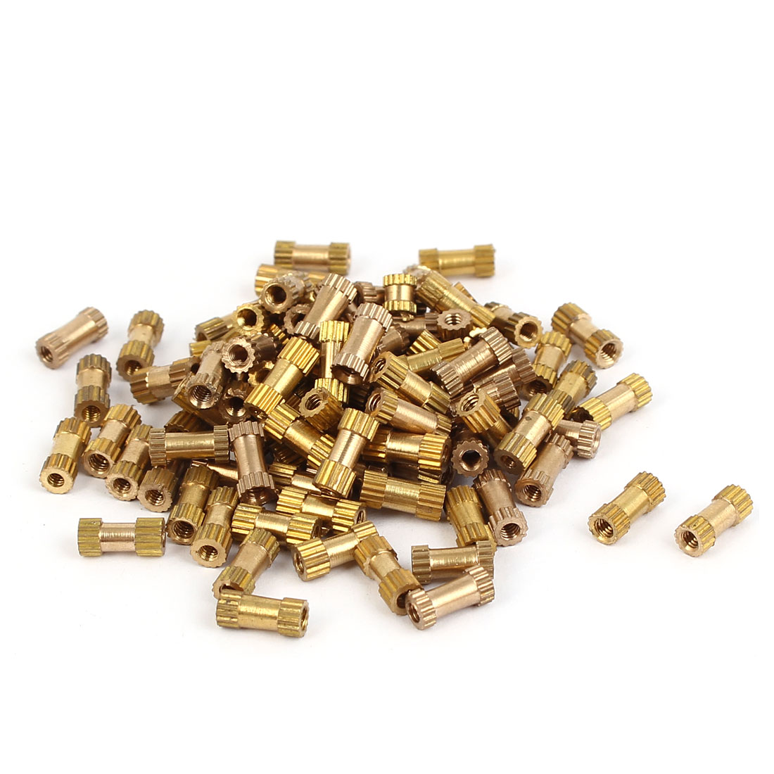 M2 x 8mm Brass Cylinder Injection Molding Knurled Threaded Insert Nuts 100PCS