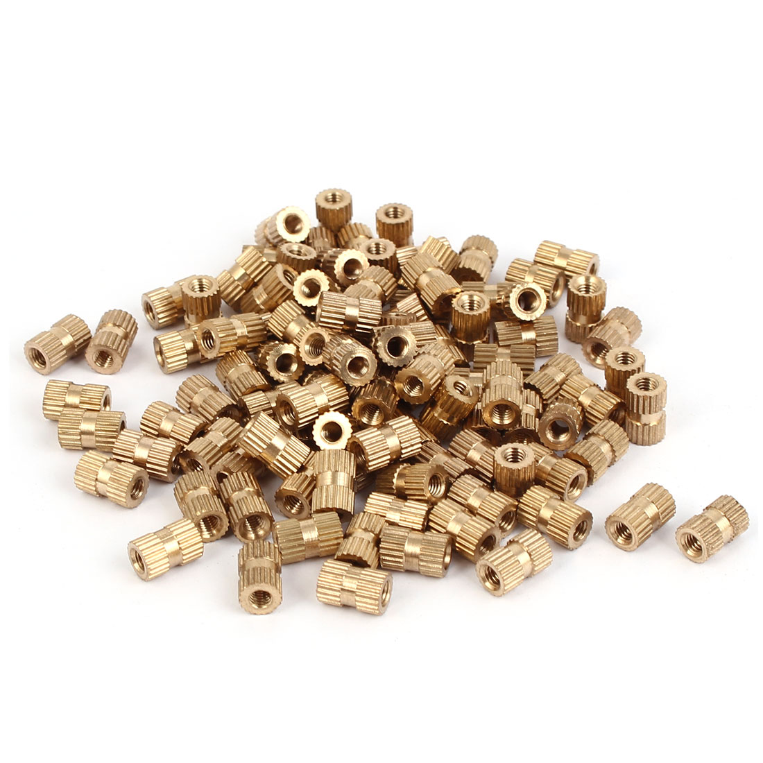 M3 x 8mm Brass Cylinder Injection Molding Knurled Insert Embedded Nuts 100PCS