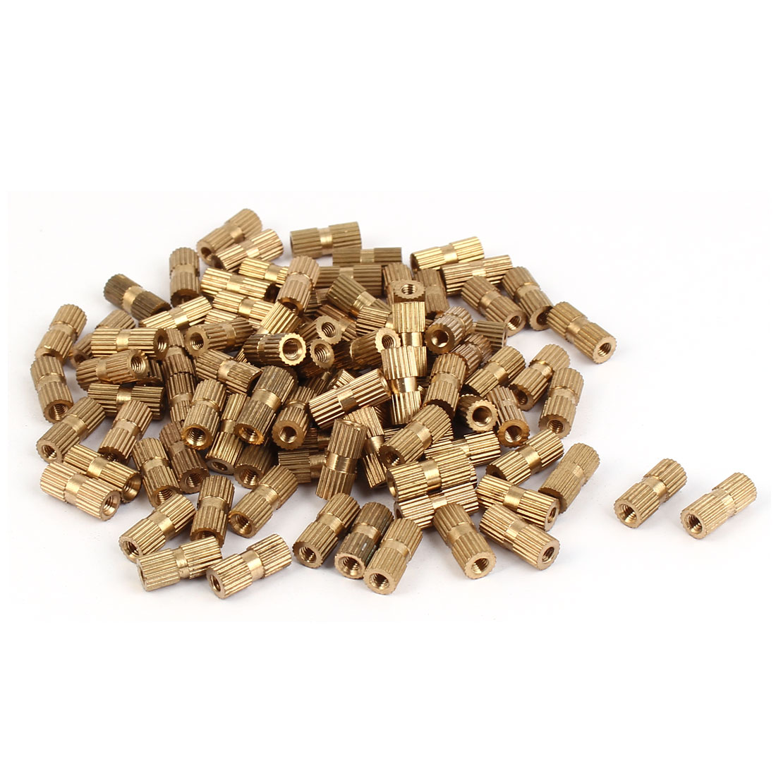 M3 x 12mm Brass Cylinder Injection Molding Knurled Insert Embedded Nuts 100PCS