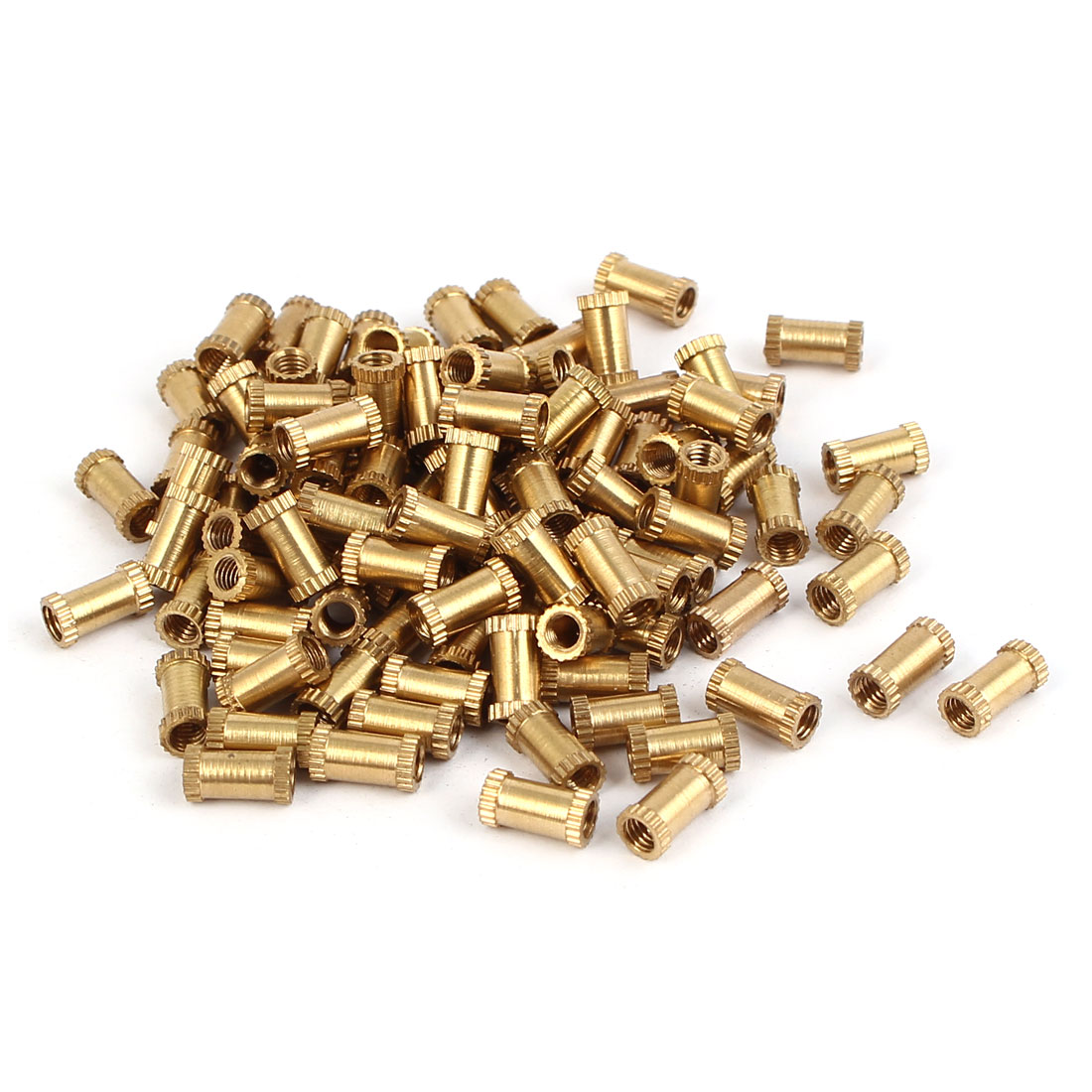 M3 x 8mm Brass Cylindrical Injection Molding Knurled Insert Embedded Nuts 100PCS