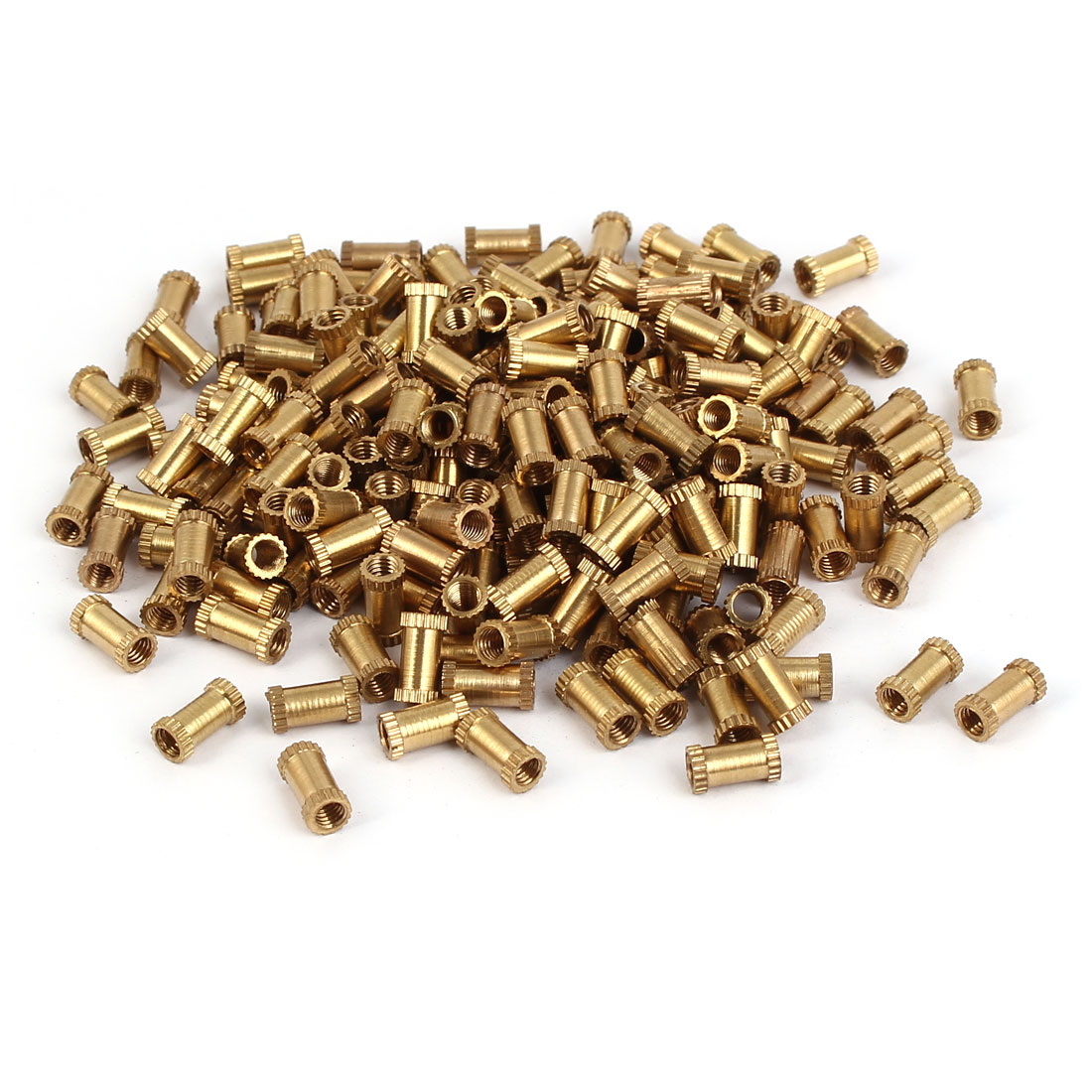 M3 x 8mm Female Thread Brass Knurled Threaded Round Insert Embedded Nuts 200PCS