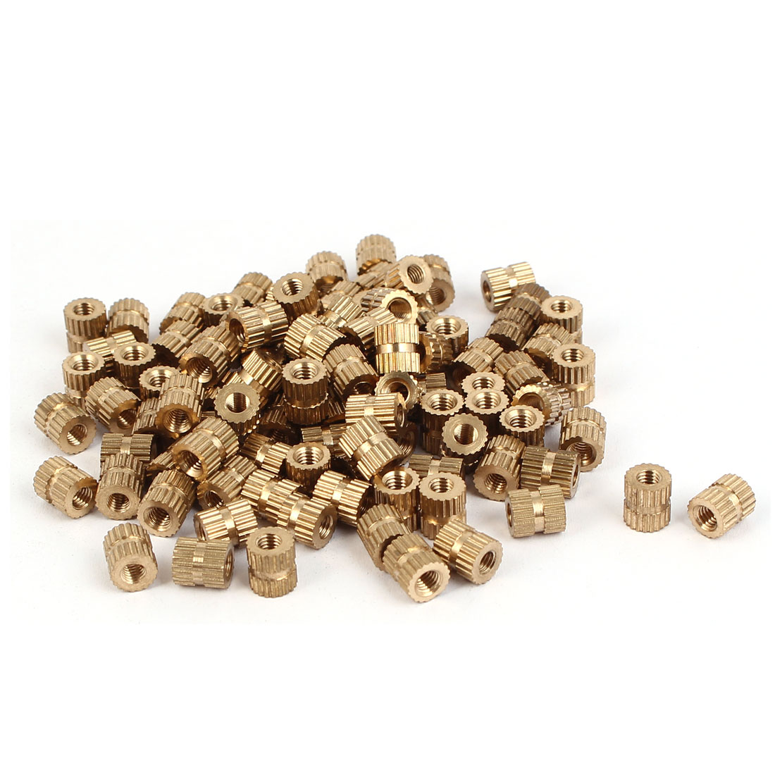 M3 x 6mm Brass Cylinder Knurled Threaded Round Insert Embedded Nuts 100PCS