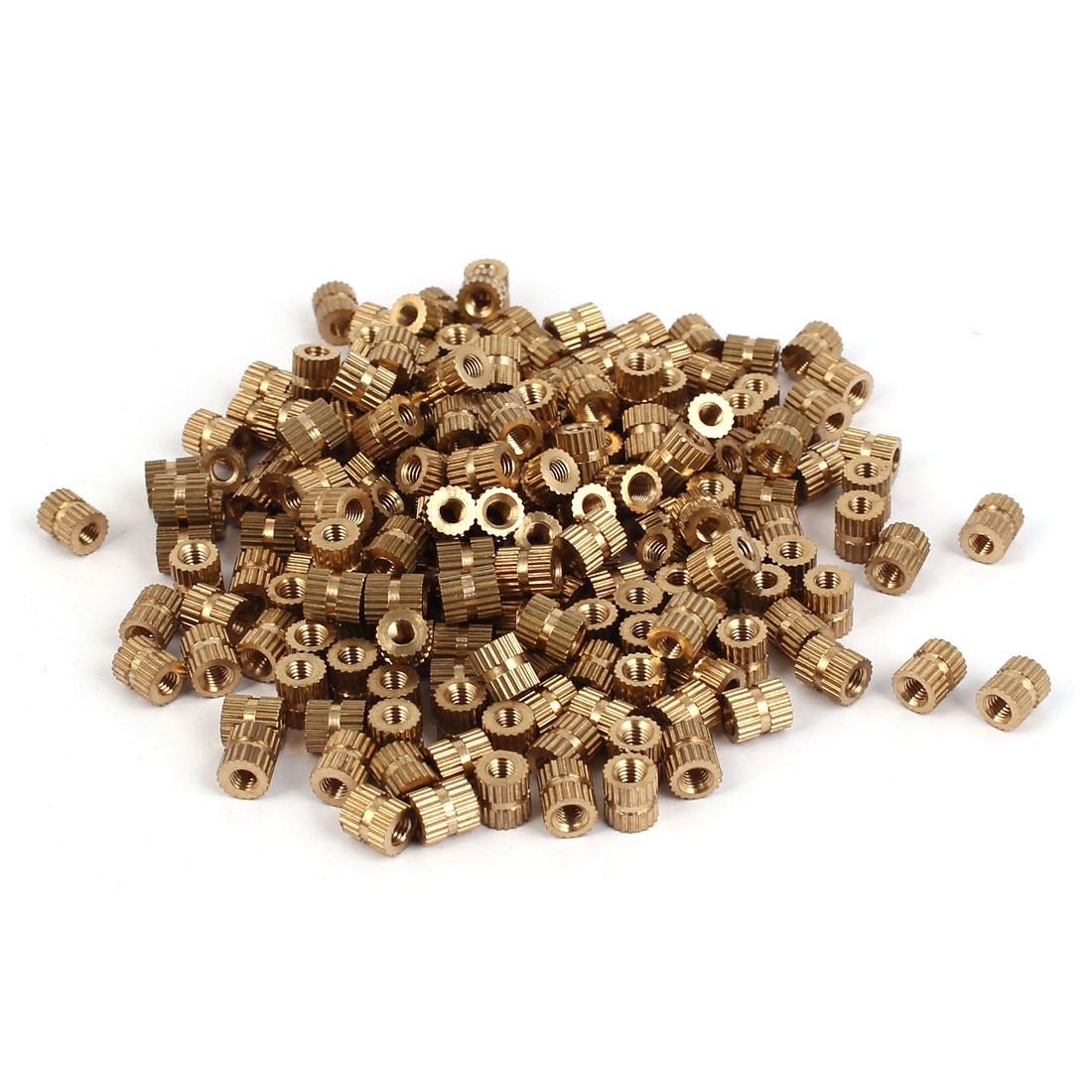 M3 x 6mm Female Thread Brass Knurled Threaded Round Insert Embedded Nuts 200PCS