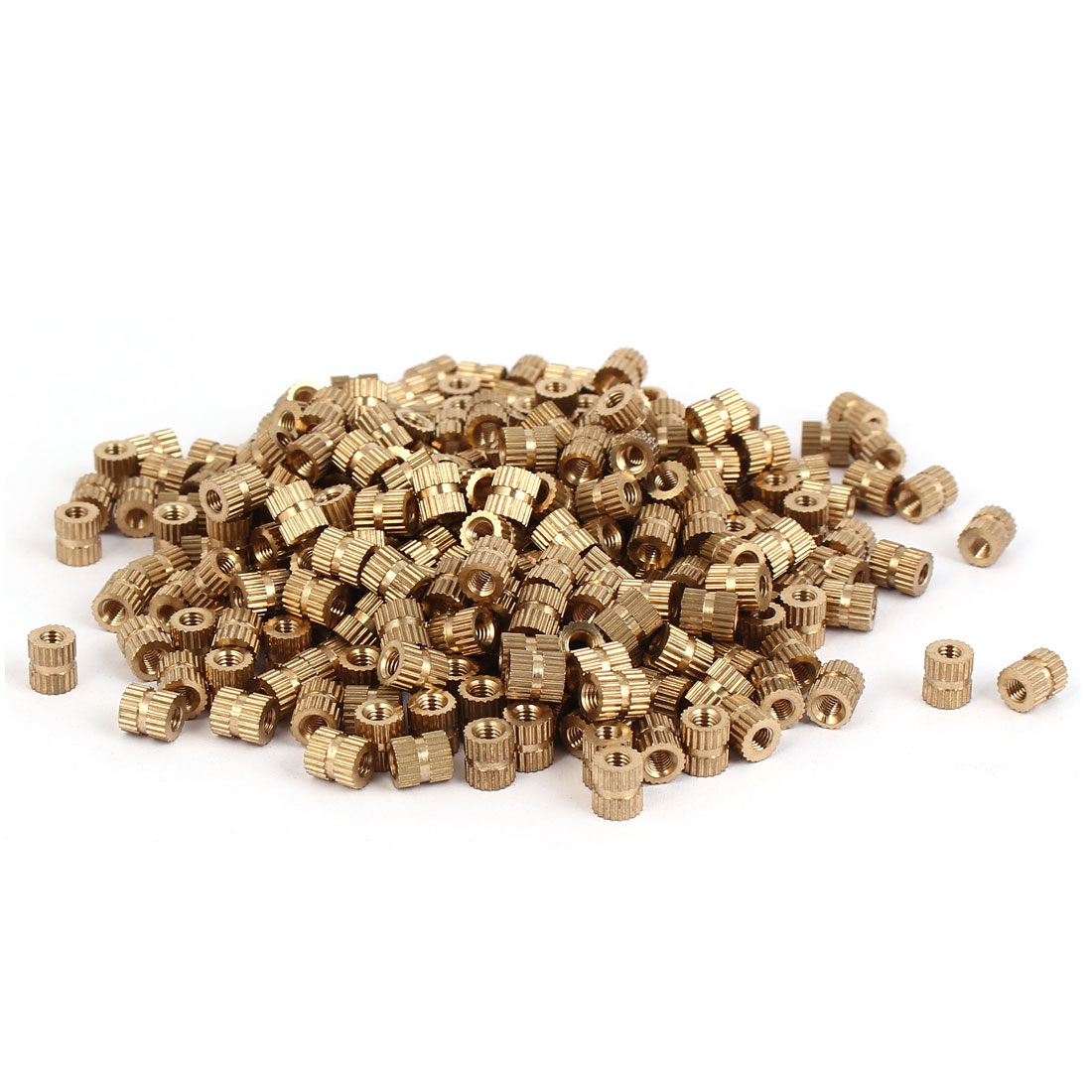 M3 x 6mm Brass Cylinder Injection Molding Knurled Threaded Embedded Nuts 500PCS