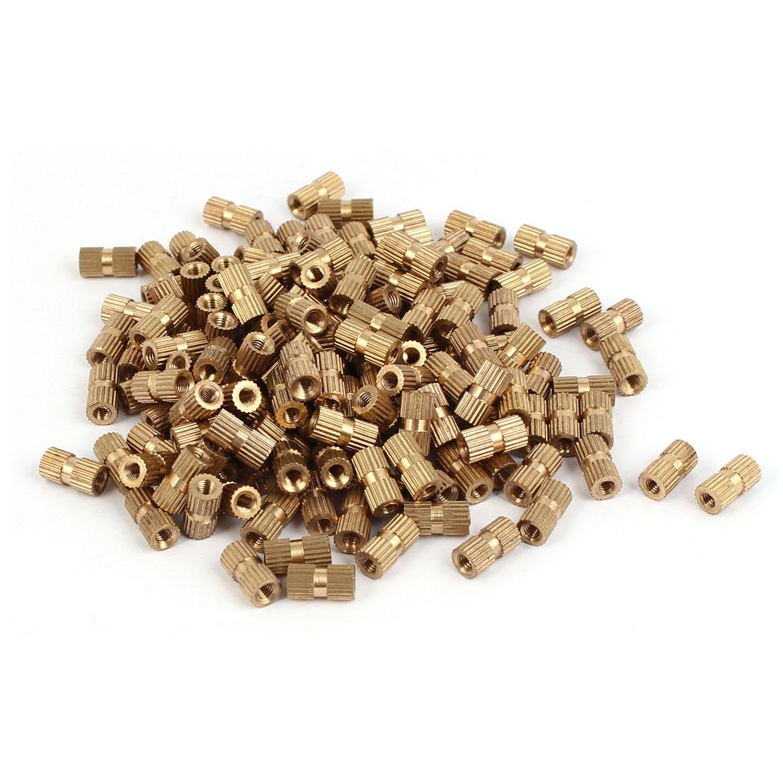 M3 x 10mm x 5.3mm Brass Knurled Threaded Round Insert Embedded Nuts 200PCS