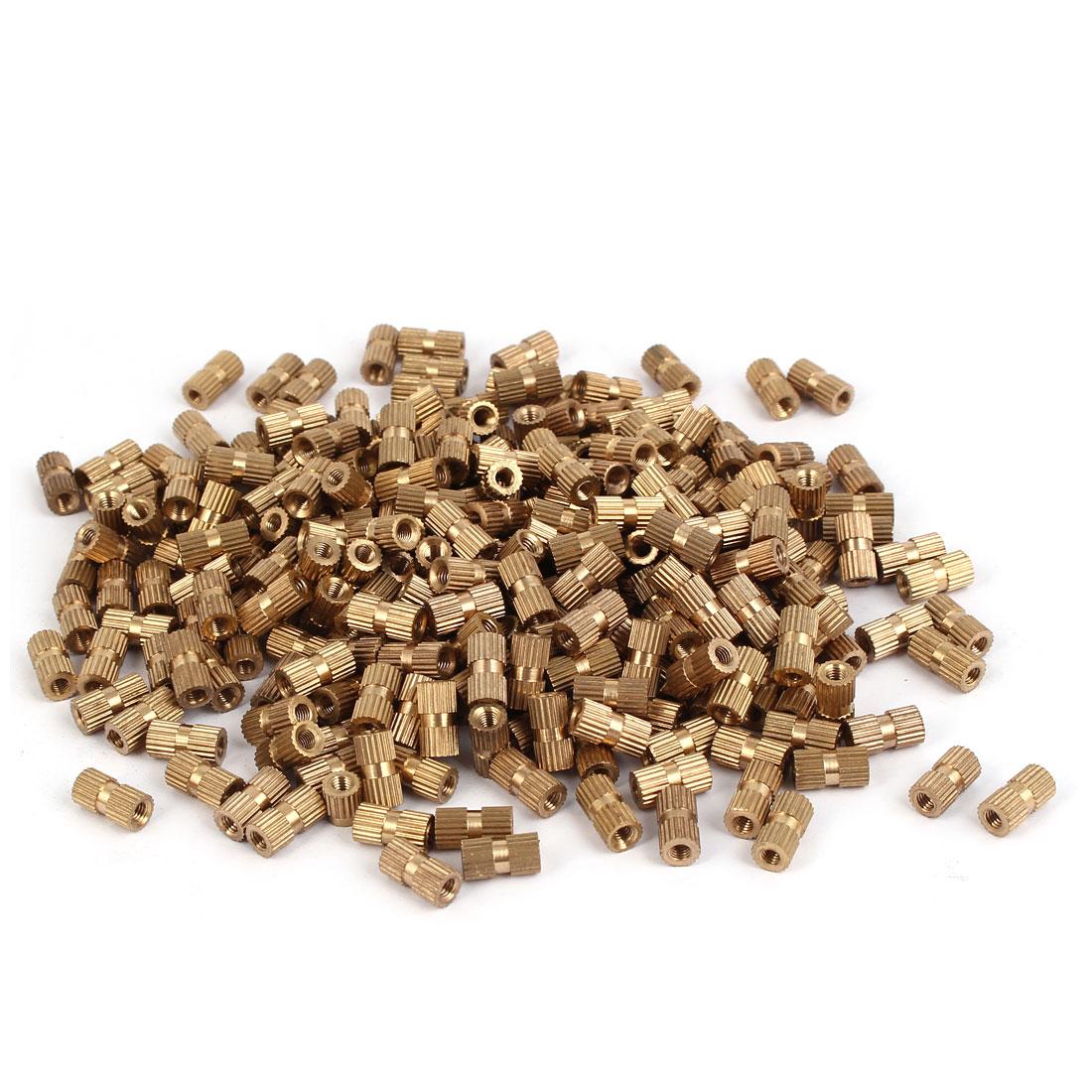 M3 x 10mm Female Thread Brass Knurled Threaded Insert Embedment Nuts 500PCS