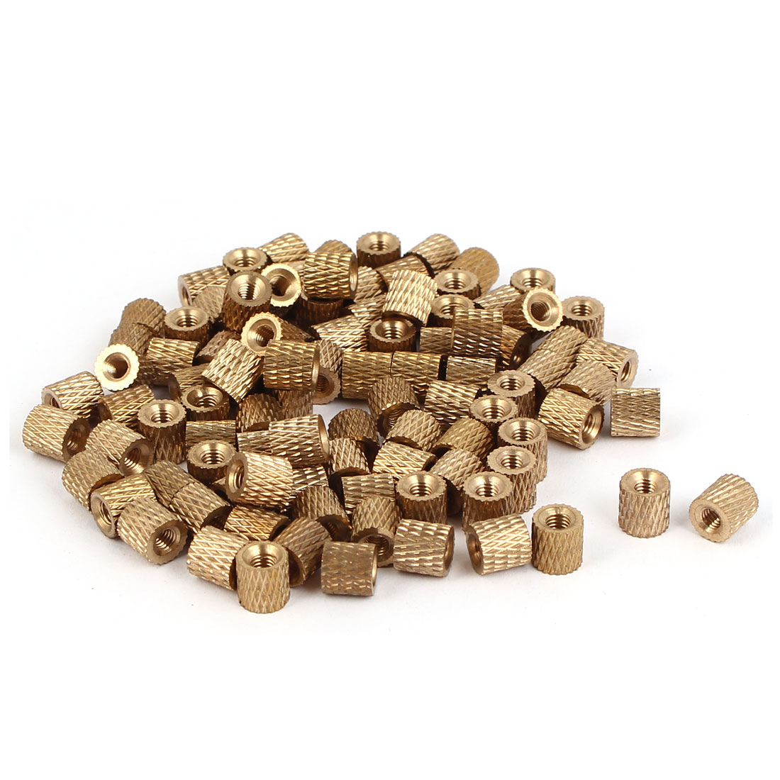M3 x 6mm x 6mm Brass Cylinder Injection Molding Knurled Embedded Nuts 100PCS