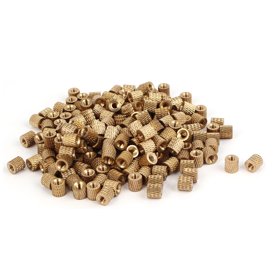M3 x 6mm Brass Cylindrical Injection Molding Knurled Insert Embedded Nuts 200PCS