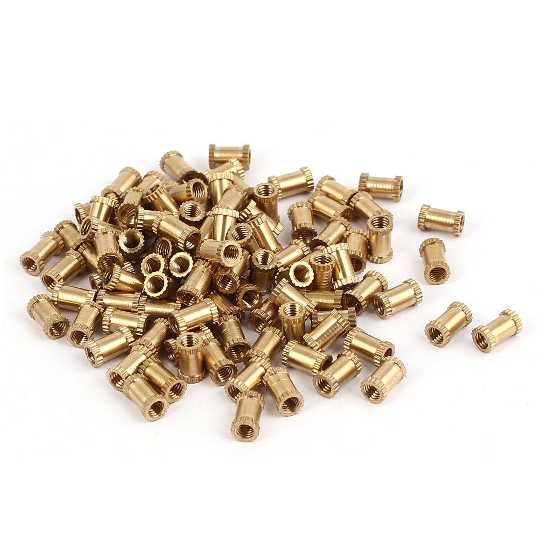 M3 x 7mm x 4.3mm Brass Cylinder Knurled Threaded Insert Embedment Nuts 100PCS