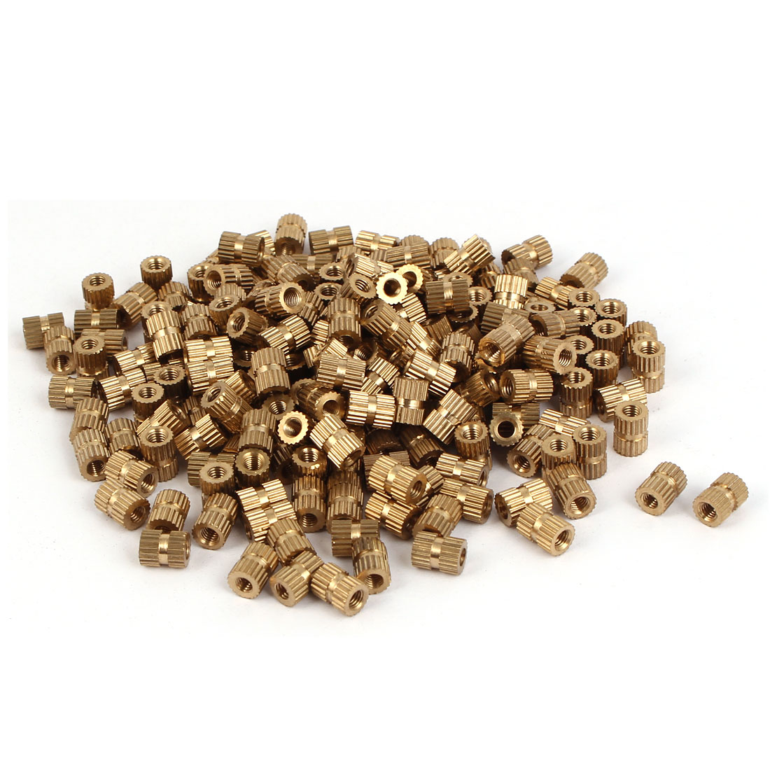 M3 x 7mm Brass Cylinder Injection Molding Knurled Insert Embedded Nuts 200PCS
