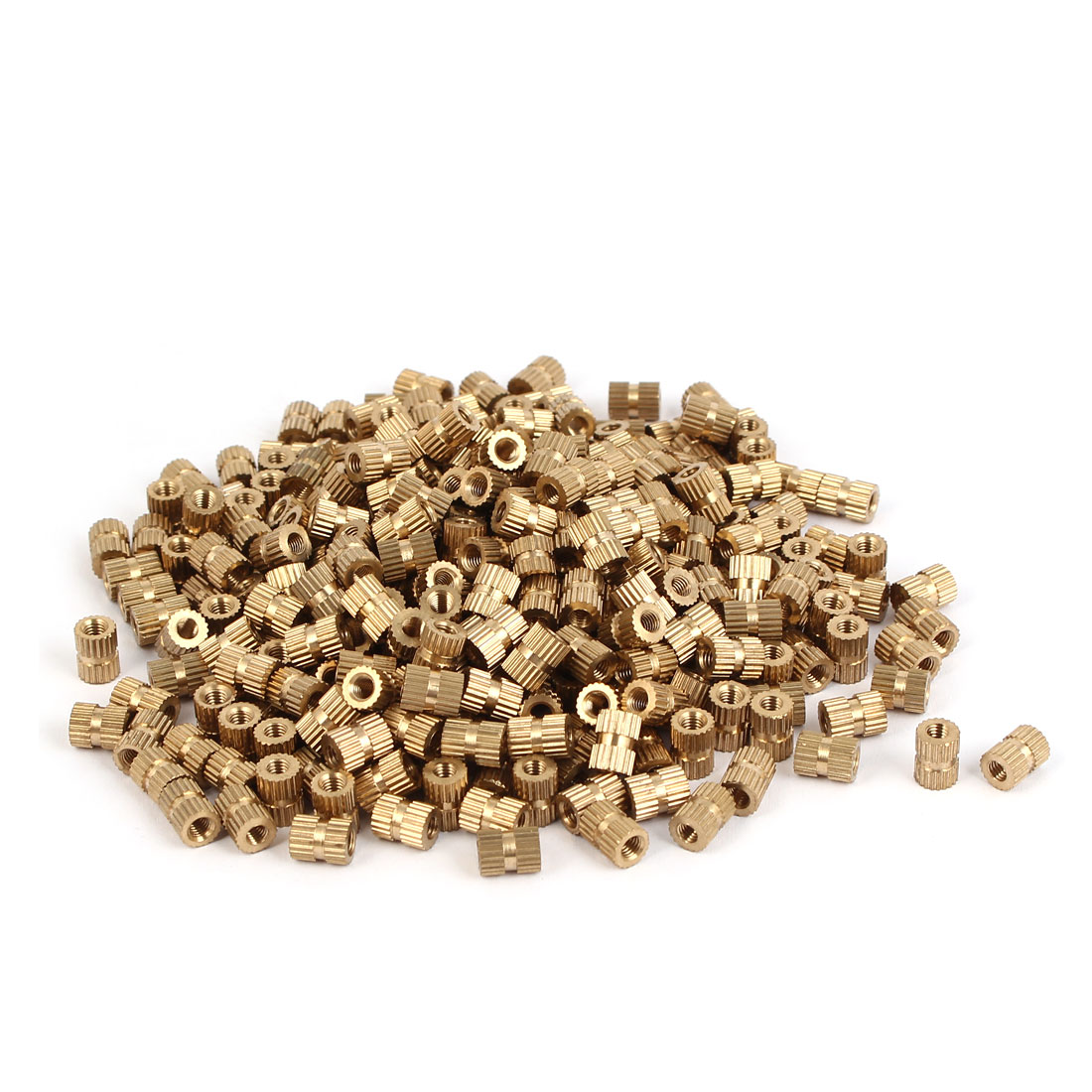 M3 x 7mm Brass Cylinder Injection Molding Knurled Threaded Insert Nuts 500PCS