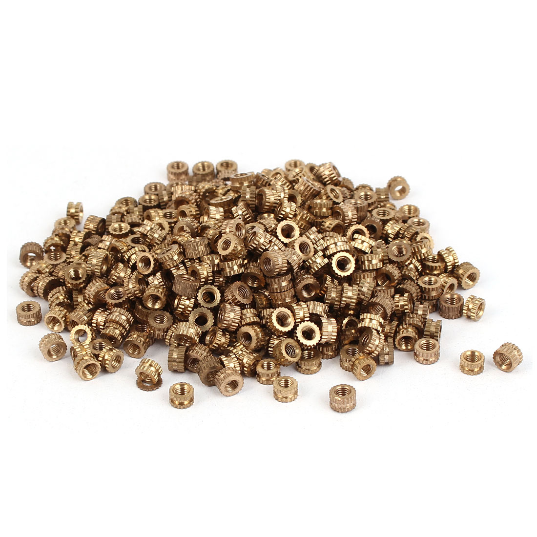 M3 x 3mm Female Thread Brass Knurled Threaded Round Insert Embedded Nuts 500PCS