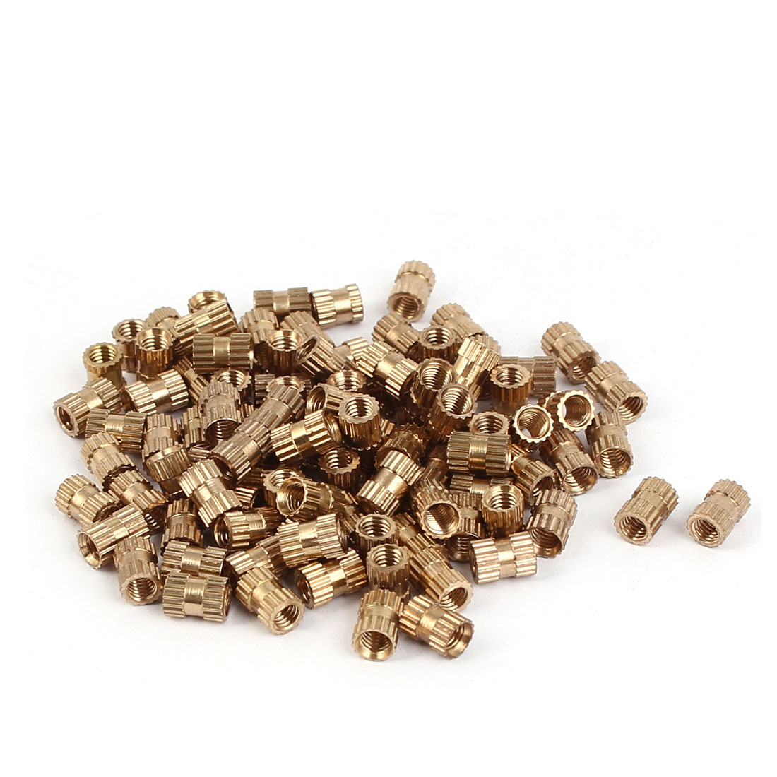 M3 x 6mm 0.5mm Pitch Brass Cylindrical Knurled Threaded Insert Nuts 100PCS