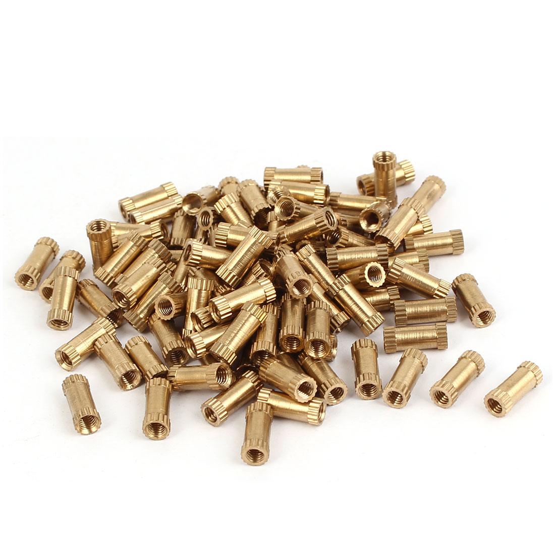 M3 x 10mm Brass Cylinder Knurled Threaded Round Insert Embedded Nuts 100PCS