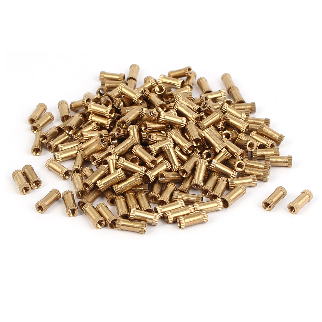M3 x 10mm Brass Cylinder Injection Molding Knurled Insert Embedded Nuts 200PCS