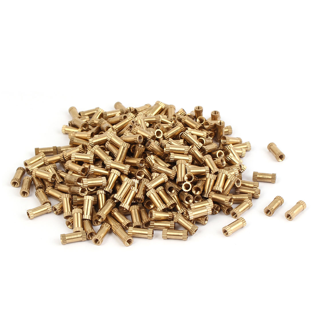 M3 x 10mm Brass Cylinder Injection Molding Knurled Threaded Insert Nuts 500PCS