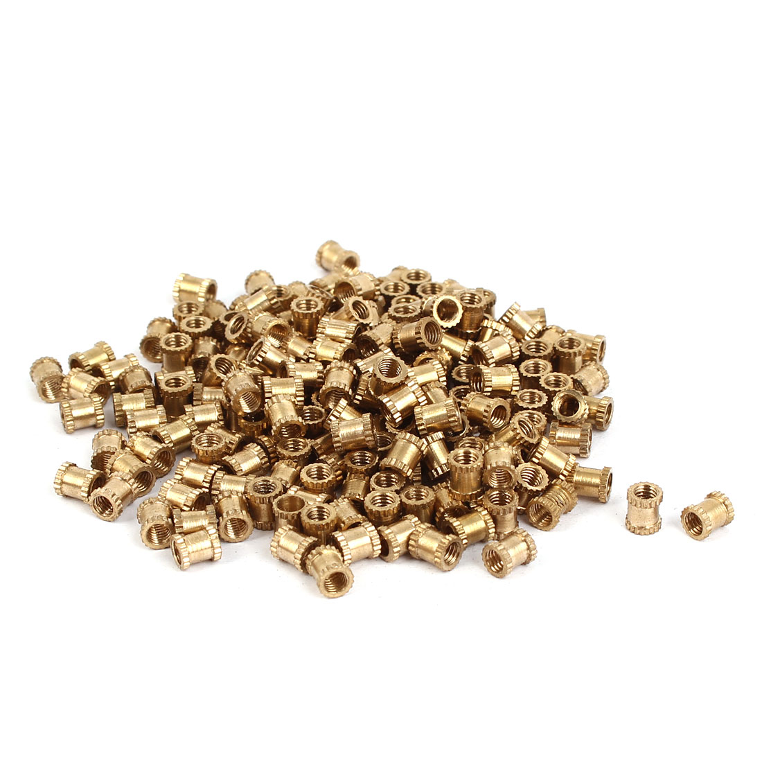 M3 x 5mm Brass Cylinder Injection Molding Knurled Threaded Embedment Nuts 200PCS