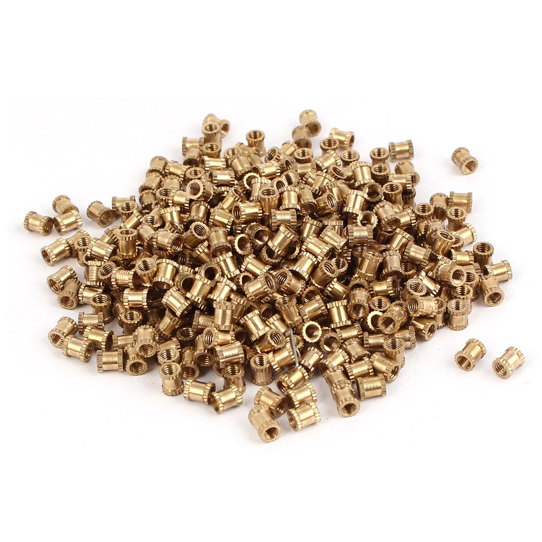M3 x 5mm Female Thread Brass Knurled Threaded Insert Embedment Nuts 500PCS
