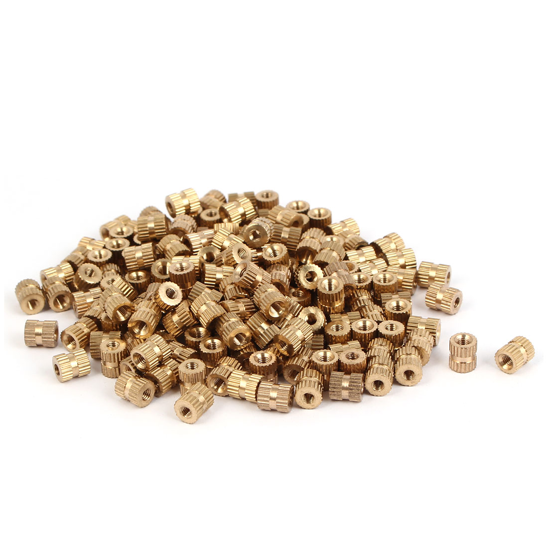 M3 x 7mm 0.5mm Pitch Brass Cylinder Knurled Threaded Insert Embedded Nuts 200PCS