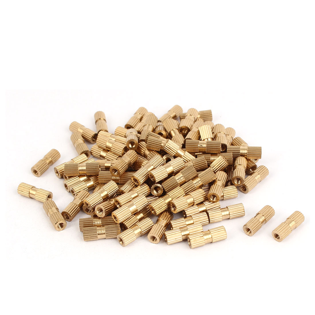 M3 x 15mm Brass Cylinder Knurled Threaded Round Insert Embedded Nuts 100PCS