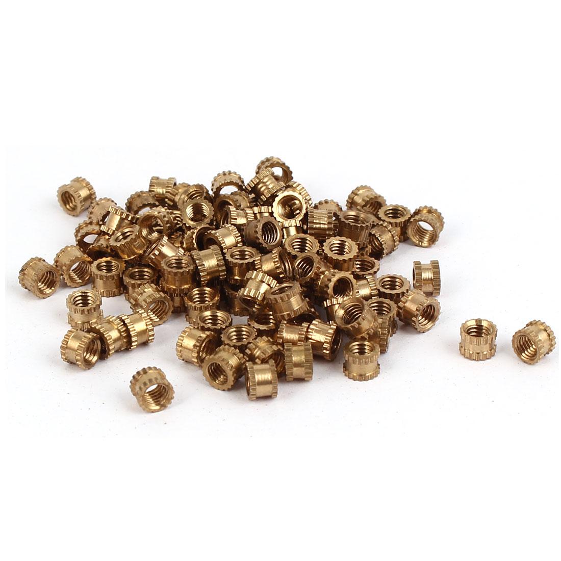 M3 x 3mm Female Thread Brass Knurled Threaded Insert Embedment Nuts 100PCS
