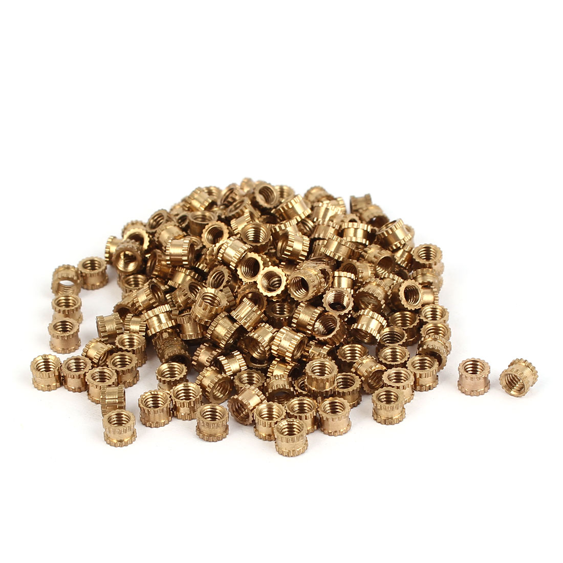 M3 x 3mm Brass Cylindrical Knurled Threaded Round Insert Embedded Nuts 200PCS