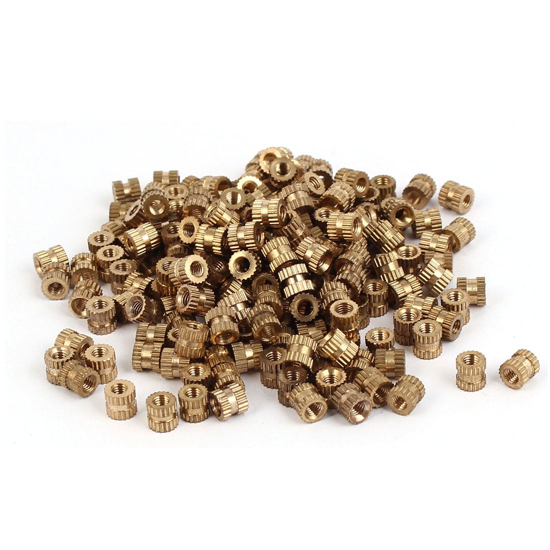 M3 x 5mm Female Thread Brass Knurled Threaded Round Insert Embedded Nuts 200PCS