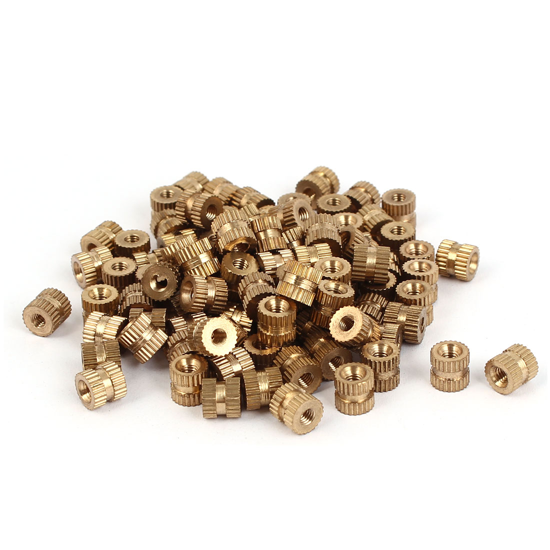 M3 x 6mm Female Thread Brass Knurled Threaded Round Insert Embedded Nuts 100PCS