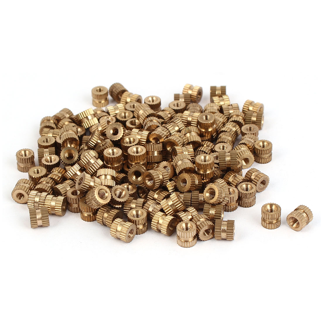 M3 x 6mm Brass Cylinder Knurled Threaded Round Insert Embedded Nuts 200PCS