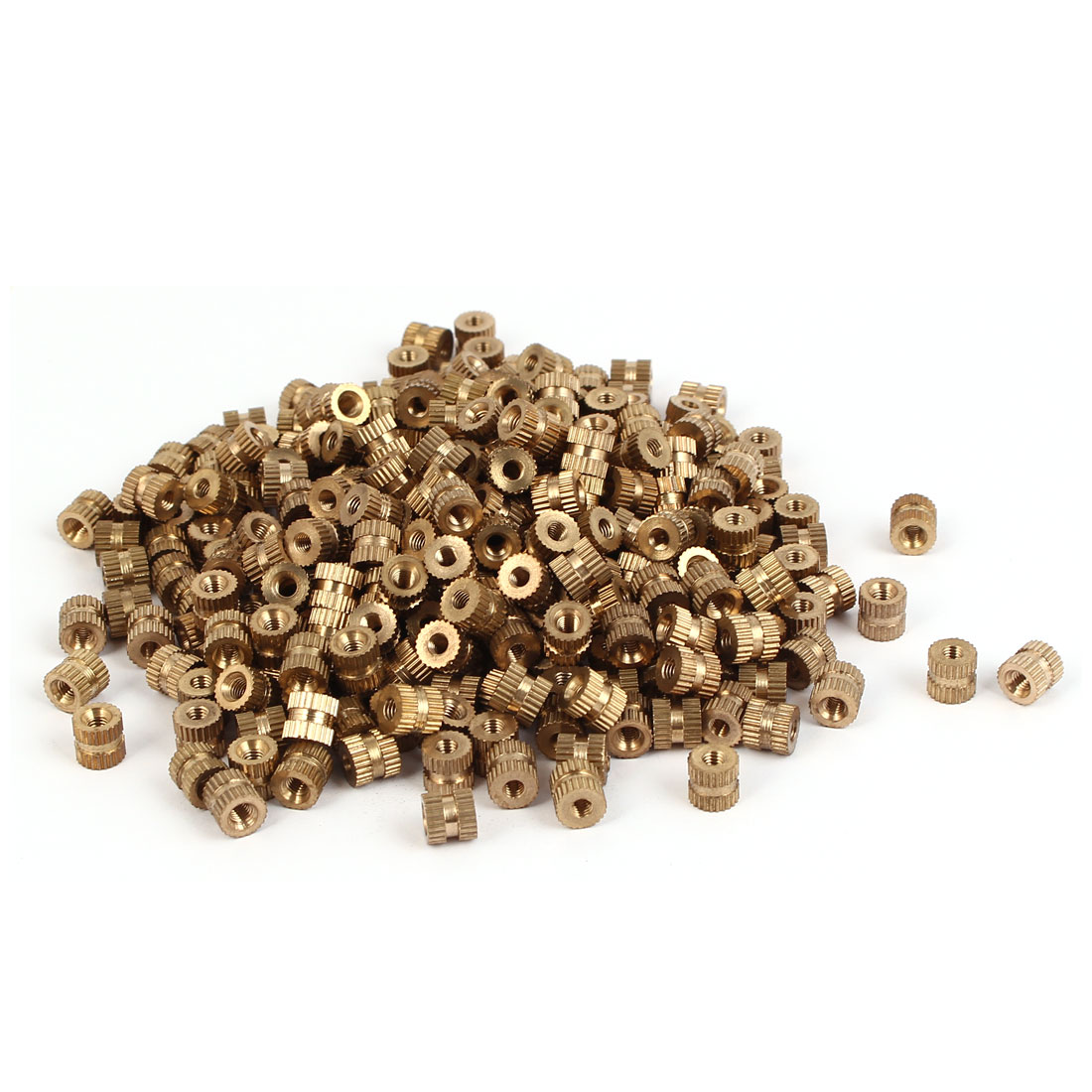 M3 x 6mm Brass Cylinder Injection Molding Knurled Threaded Embedment Nuts 500PCS